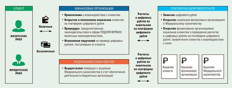 Схема двухуровневой розничной модели цифрового рубля